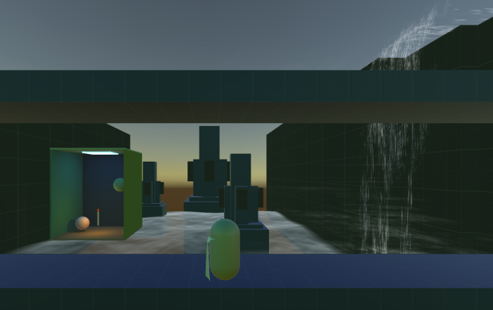 Shown is a prototype light-box showing how light will be handled in game. Also shown is an example of a waterfall.