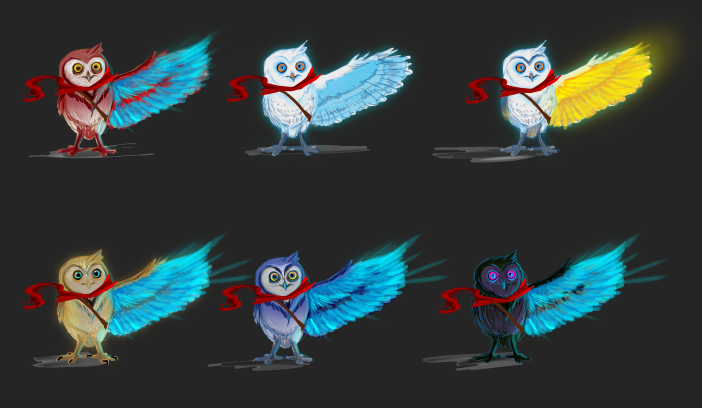 Hue's early concept and color treatment of the owl.
