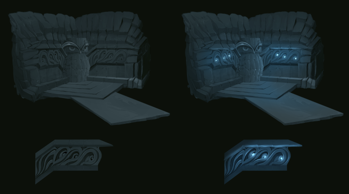 Temple concept of the ancient cave owls.